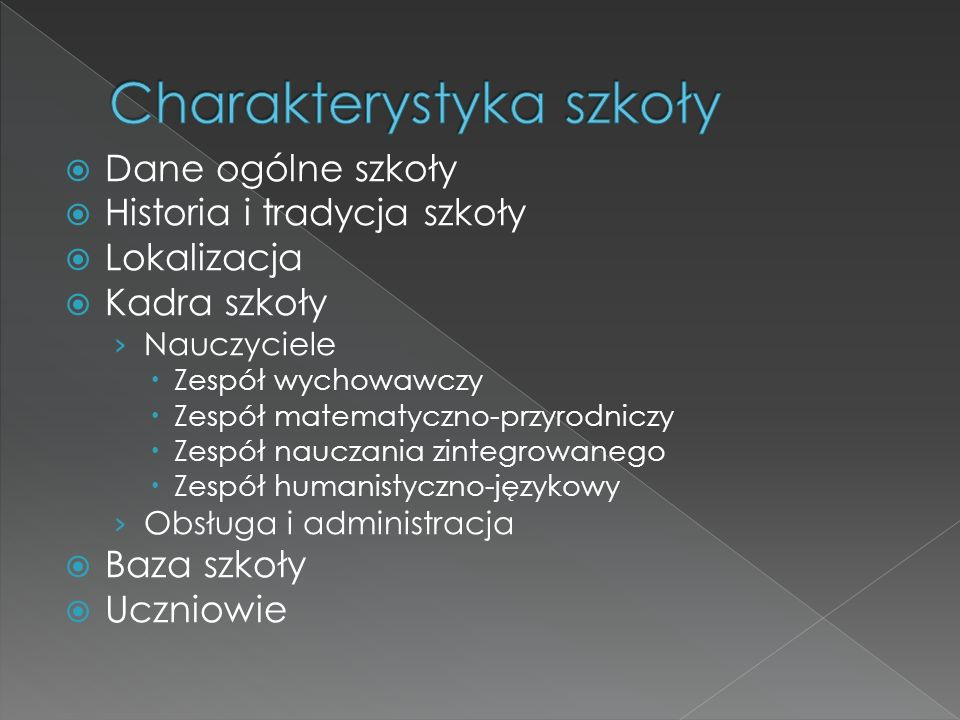 Charakterystyka szkoły