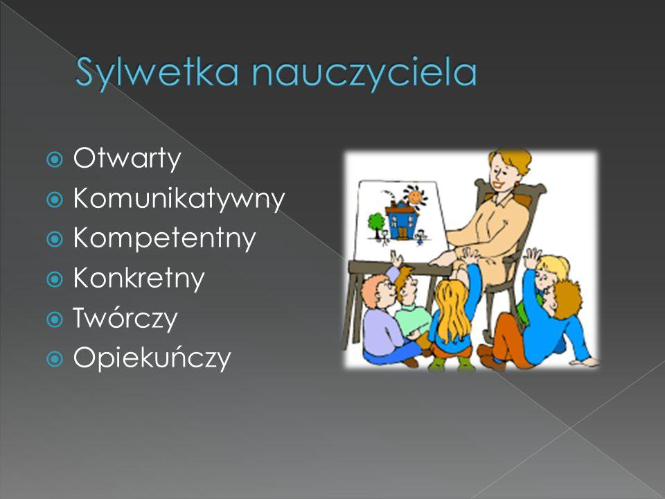 Sylwetka nauczyciela Otwarty Komunikatywny Kompetentny Konkretny