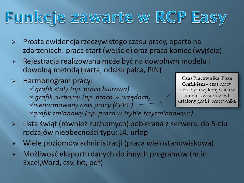 Funkcje zawarte w RCP Easy