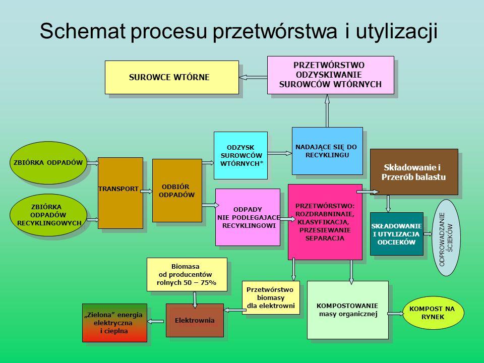 Schemat procesu przetwórstwa i utylizacji