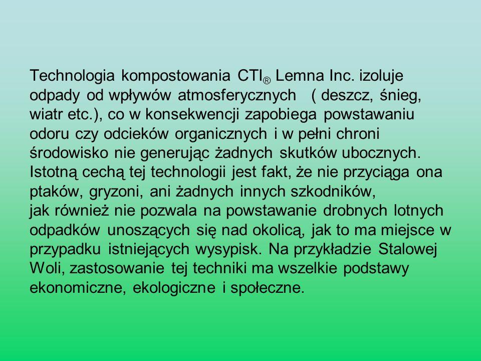 Technologia kompostowania CTI® Lemna Inc. izoluje