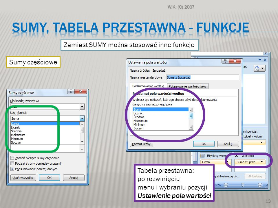 Sumy, Tabela przestawna - funkcje