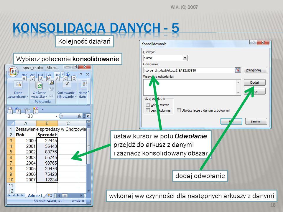 konsolidacja danych - 5 Kolejność działań