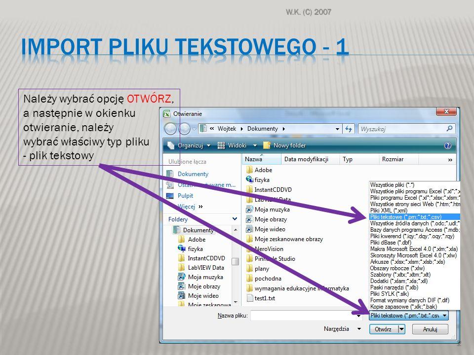 Import pliku tekstowego - 1