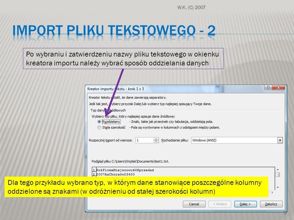 Import pliku tekstowego - 2
