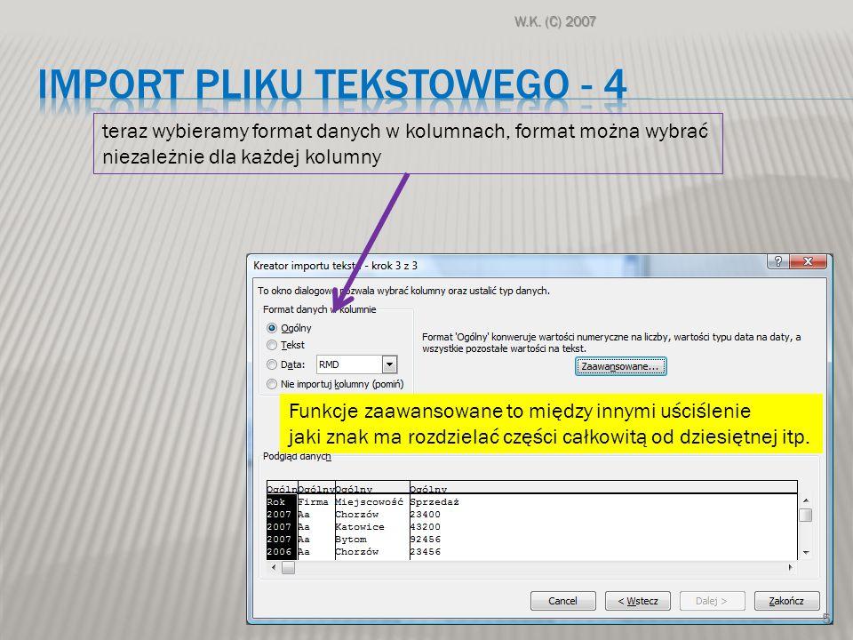 Import pliku tekstowego - 4