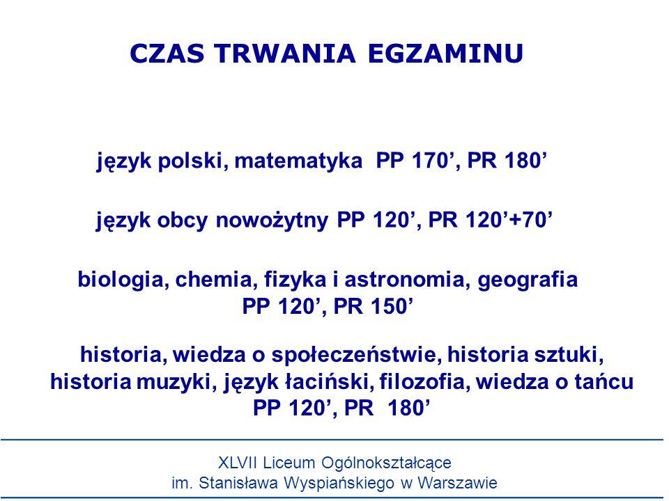 CZAS TRWANIA EGZAMINU język polski, matematyka PP 170', PR 180'