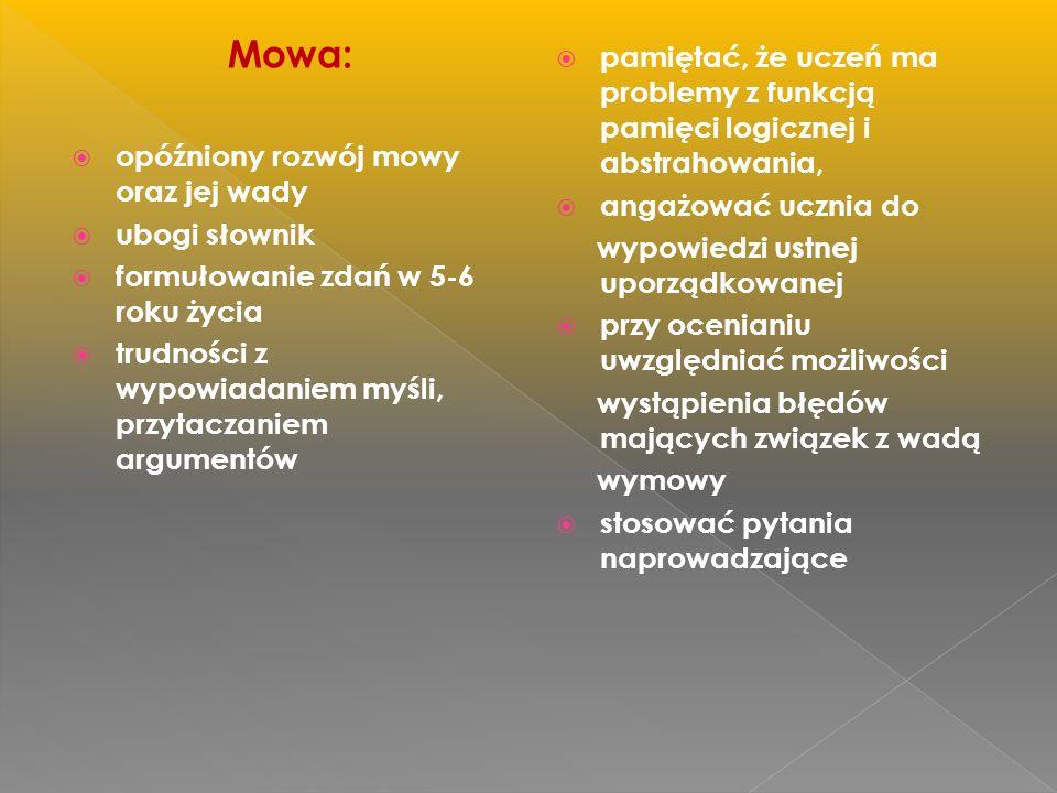 Mowa: opóźniony rozwój mowy oraz jej wady. ubogi słownik. formułowanie zdań w 5-6 roku życia.
