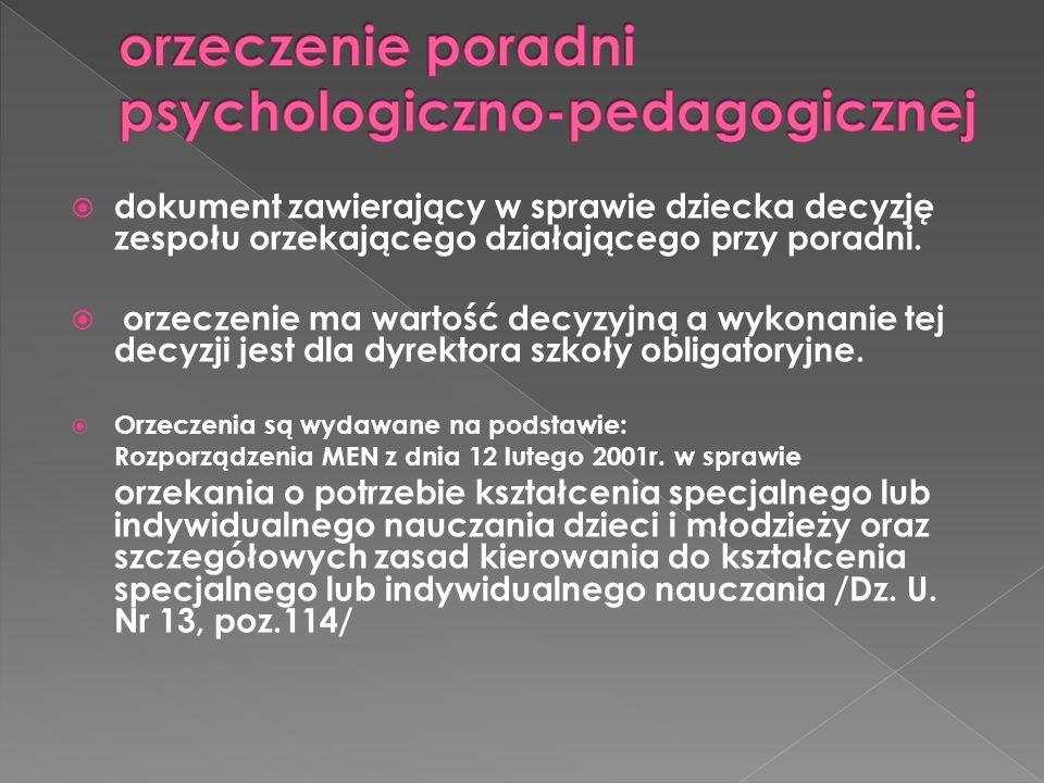 orzeczenie poradni psychologiczno-pedagogicznej