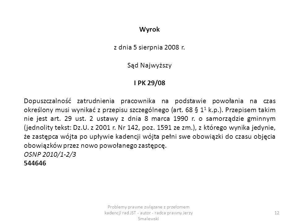 Wyrok z dnia 5 sierpnia 2008 r. Sąd Najwyższy I PK 29/08