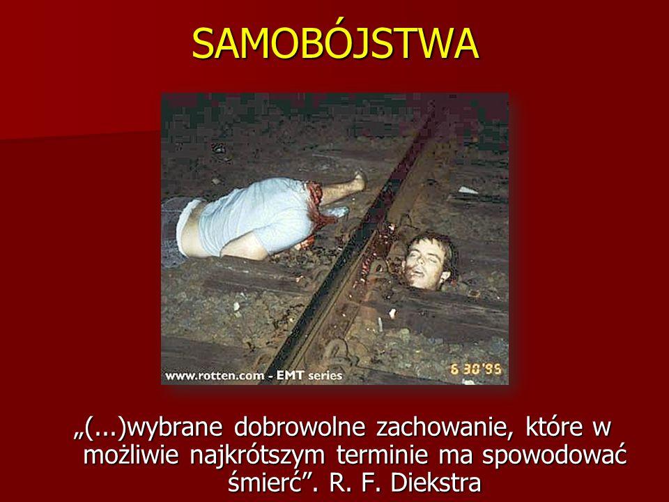 """SAMOBÓJSTWA """"(...)wybrane dobrowolne zachowanie, które w możliwie najkrótszym terminie ma spowodować śmierć ."""