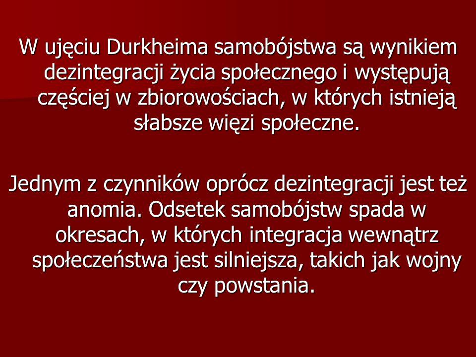 W ujęciu Durkheima samobójstwa są wynikiem dezintegracji życia społecznego i występują częściej w zbiorowościach, w których istnieją słabsze więzi społeczne.