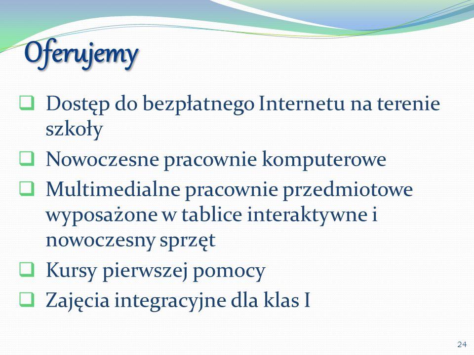 Oferujemy Dostęp do bezpłatnego Internetu na terenie szkoły