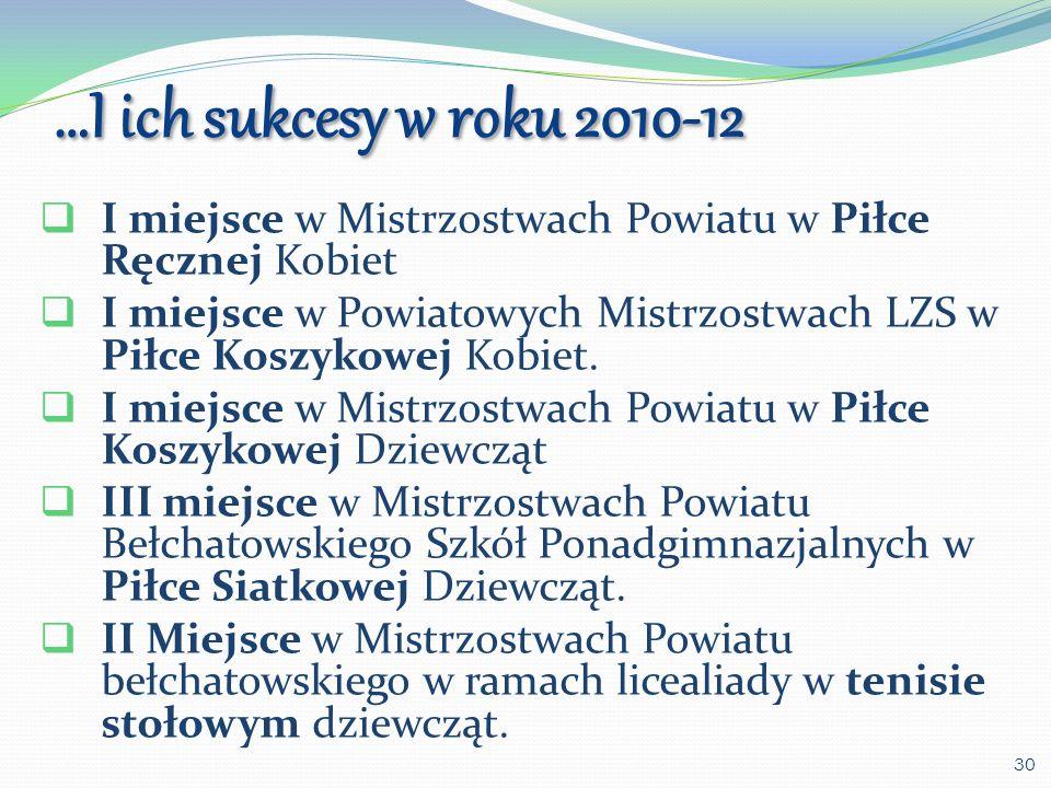…I ich sukcesy w roku 2010-12 I miejsce w Mistrzostwach Powiatu w Piłce Ręcznej Kobiet.