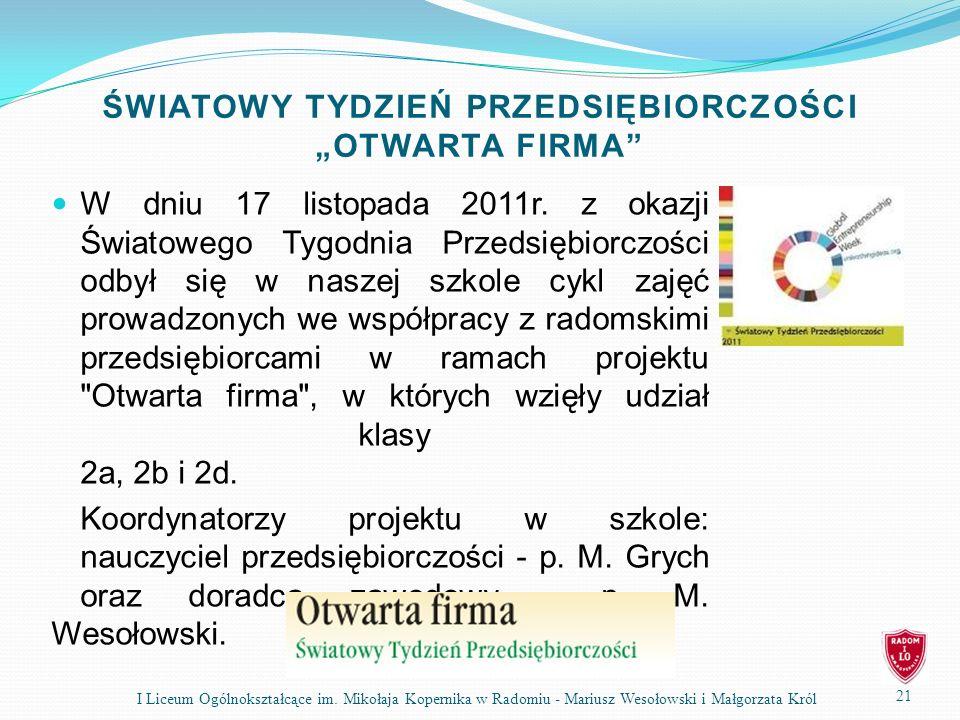 """ŚWIATOWY TYDZIEŃ PRZEDSIĘBIORCZOŚCI """"OTWARTA FIRMA"""