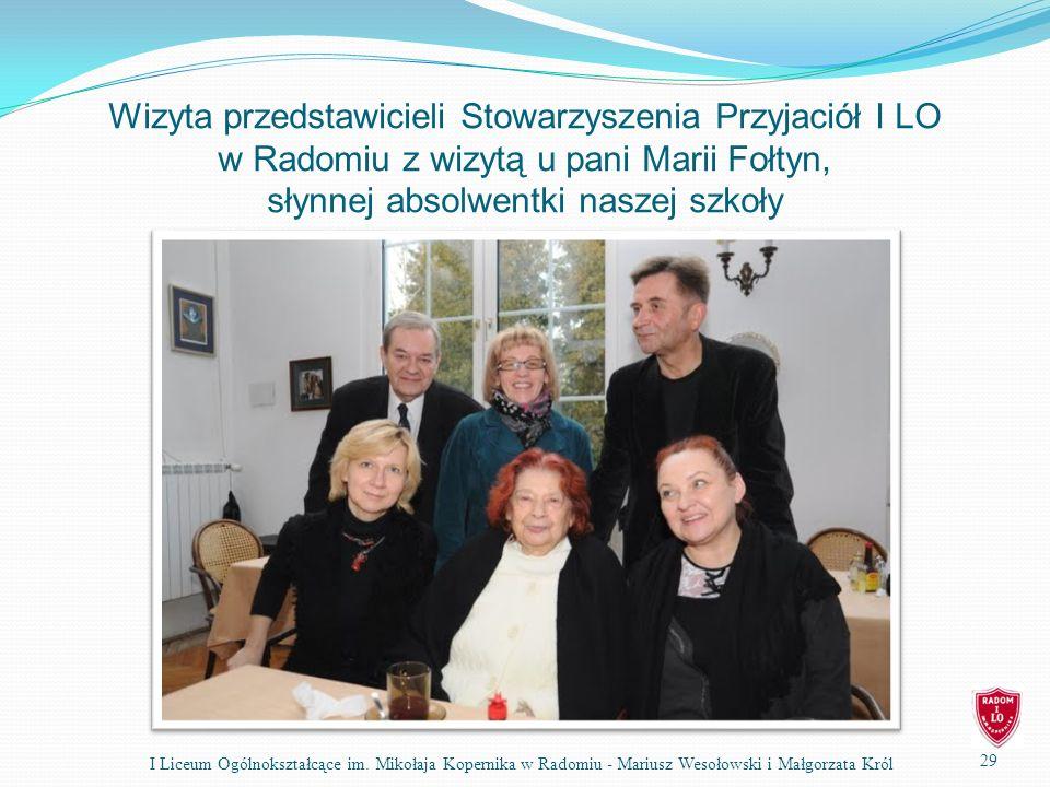 Wizyta przedstawicieli Stowarzyszenia Przyjaciół I LO w Radomiu z wizytą u pani Marii Fołtyn, słynnej absolwentki naszej szkoły