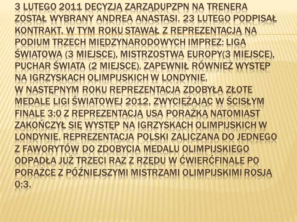3 lutego 2011 decyzją ZarząduPZPN na trenera został wybrany Andrea Anastasi.