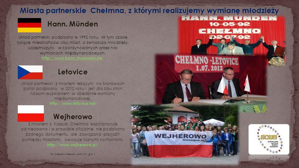 Miasta partnerskie Chełmna, z którymi realizujemy wymianę młodzieży