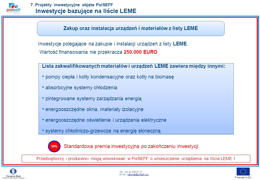 Zakup oraz instalacja urządzeń i materiałów z listy LEME