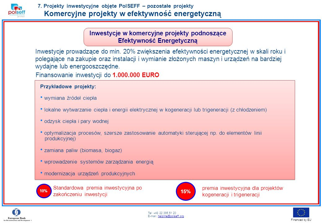 Inwestycje w komercyjne projekty podnoszące Efektywność Energetyczną