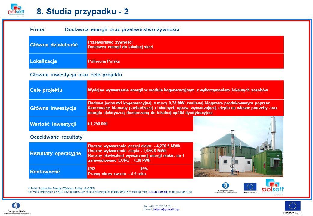 8. Studia przypadku - 2 Firma: Dostawca energii oraz przetwórstwo żywności. Główna działalność.