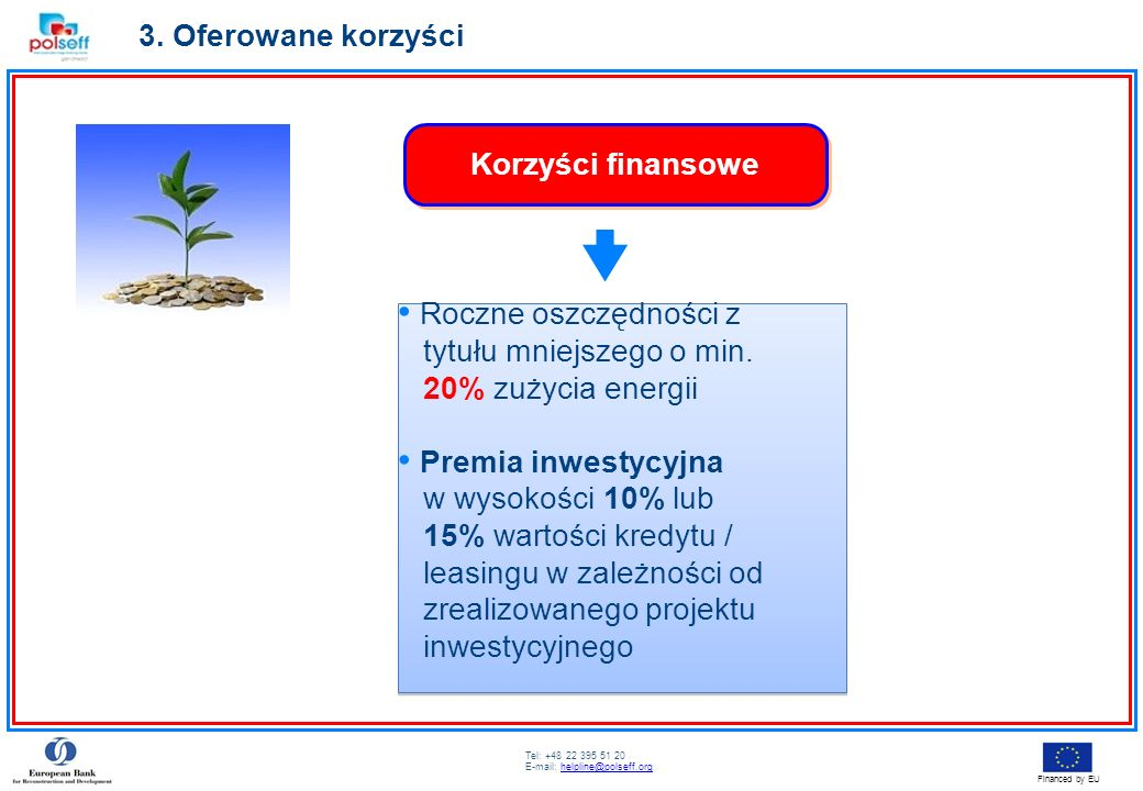 3. Oferowane korzyści Korzyści finansowe. Roczne oszczędności z. tytułu mniejszego o min. 20% zużycia energii.