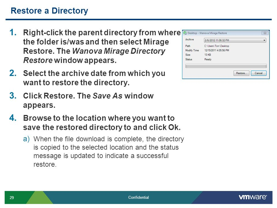 Restore a Directory