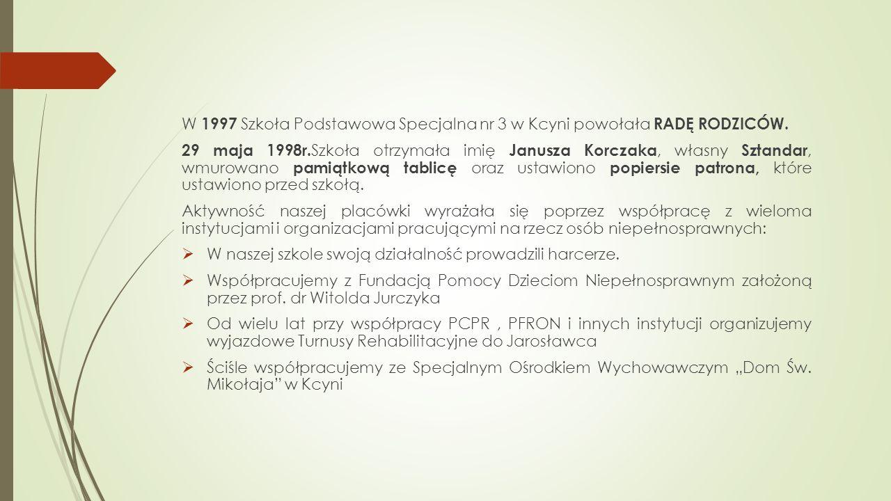 W 1997 Szkoła Podstawowa Specjalna nr 3 w Kcyni powołała RADĘ RODZICÓW.