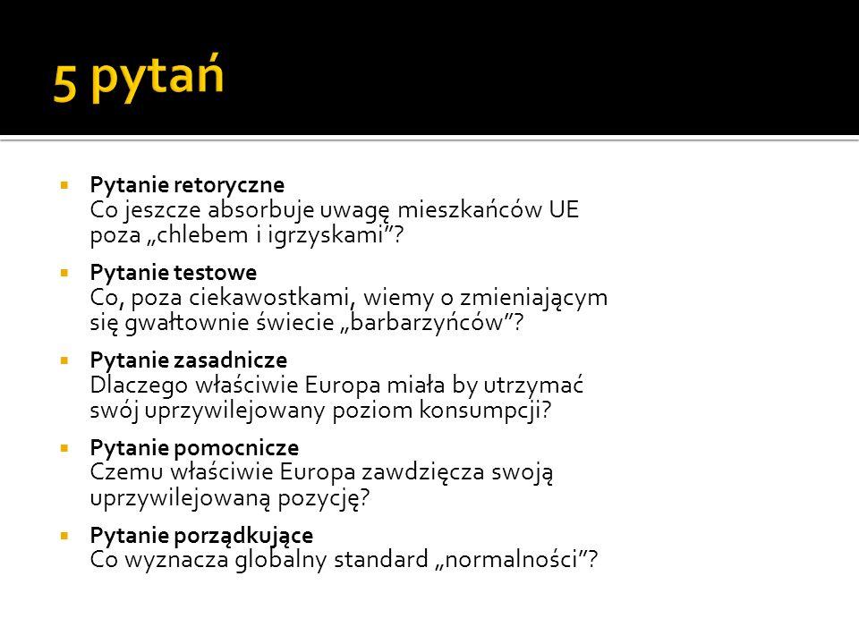 """5 pytań Pytanie retoryczne Co jeszcze absorbuje uwagę mieszkańców UE poza """"chlebem i igrzyskami"""