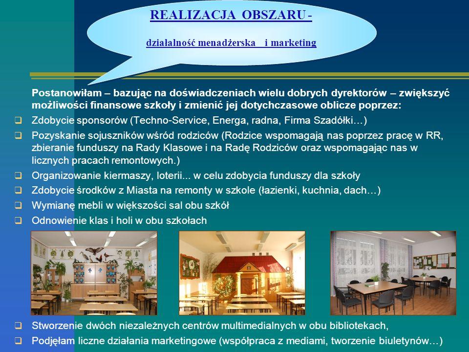 REALIZACJA OBSZARU - działalność menadżerska i marketing
