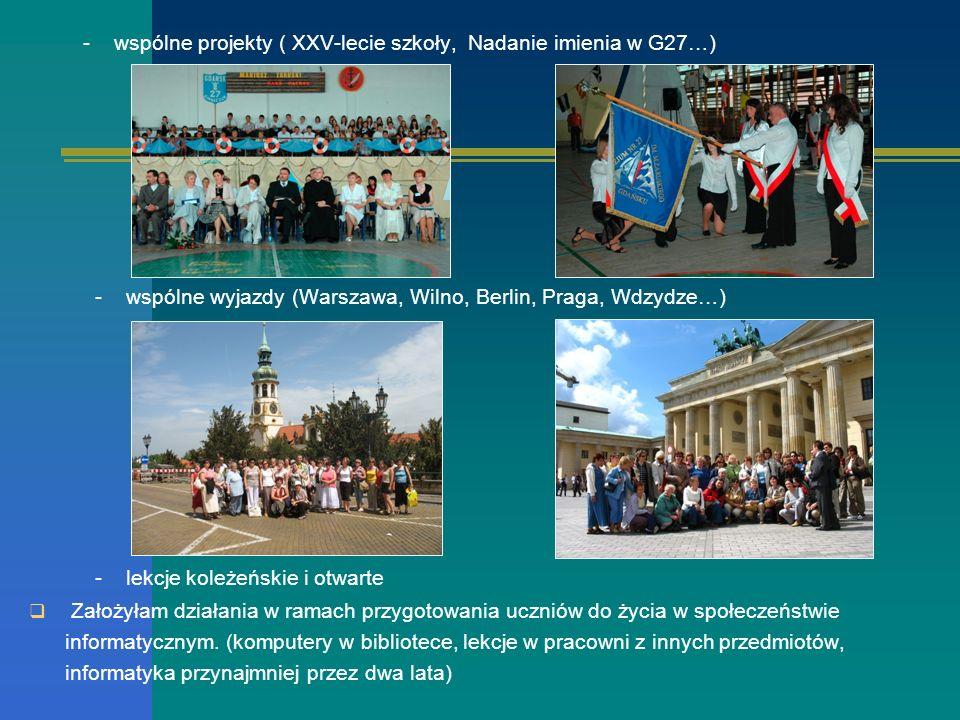 - wspólne projekty ( XXV-lecie szkoły, Nadanie imienia w G27…)
