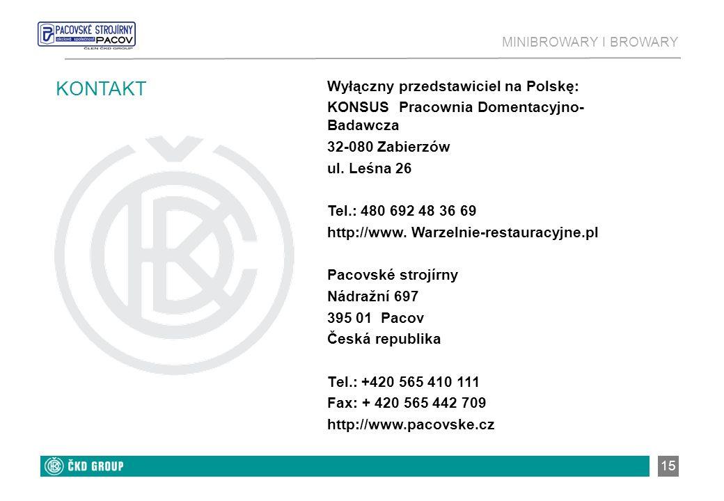 KONTAKT Wyłączny przedstawiciel na Polskę: