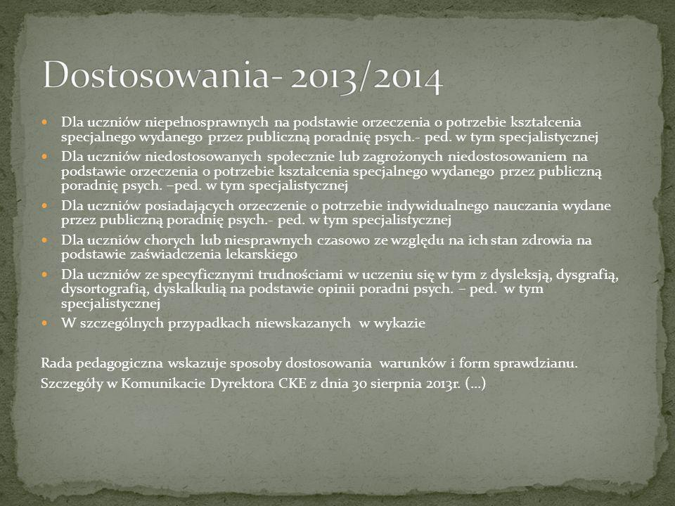 Dostosowania- 2013/2014
