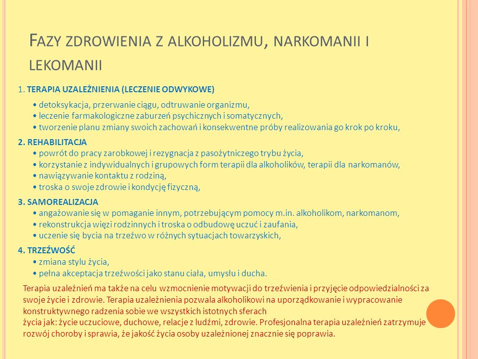 Fazy zdrowienia z alkoholizmu, narkomanii i lekomanii