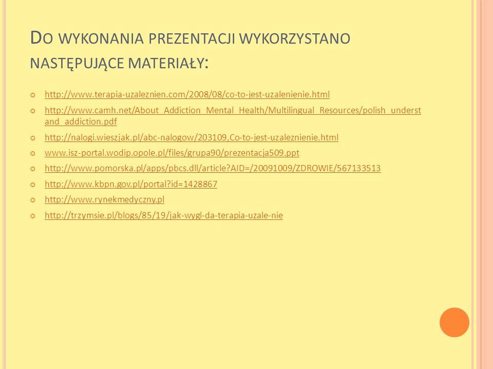 Do wykonania prezentacji wykorzystano następujące materiały: