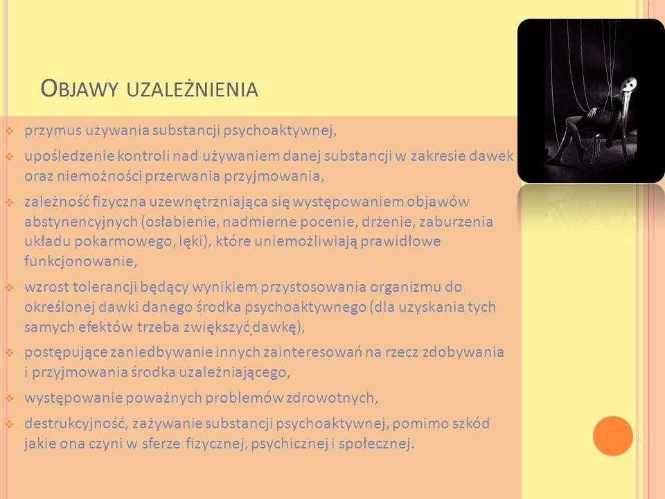 Objawy uzależnienia przymus używania substancji psychoaktywnej,