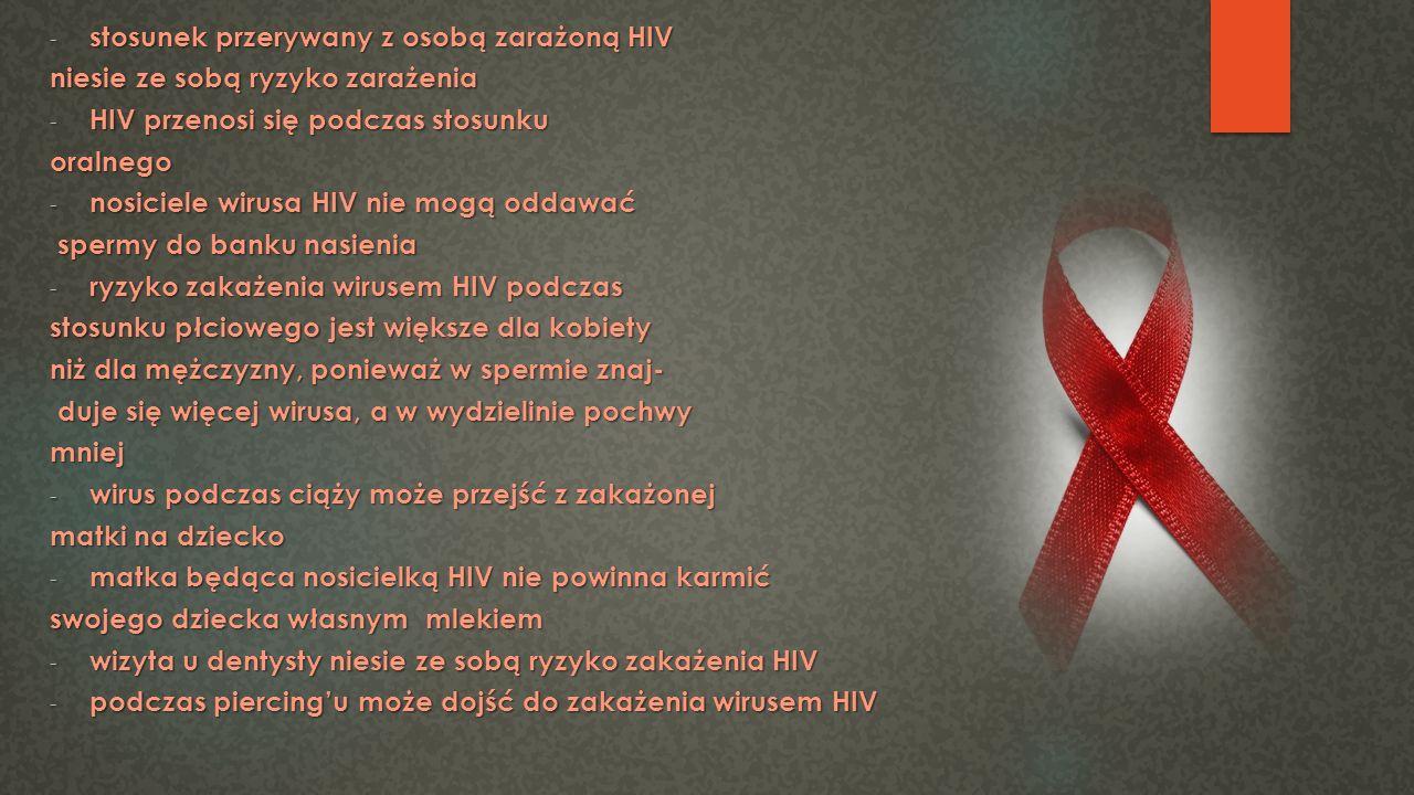 stosunek przerywany z osobą zarażoną HIV