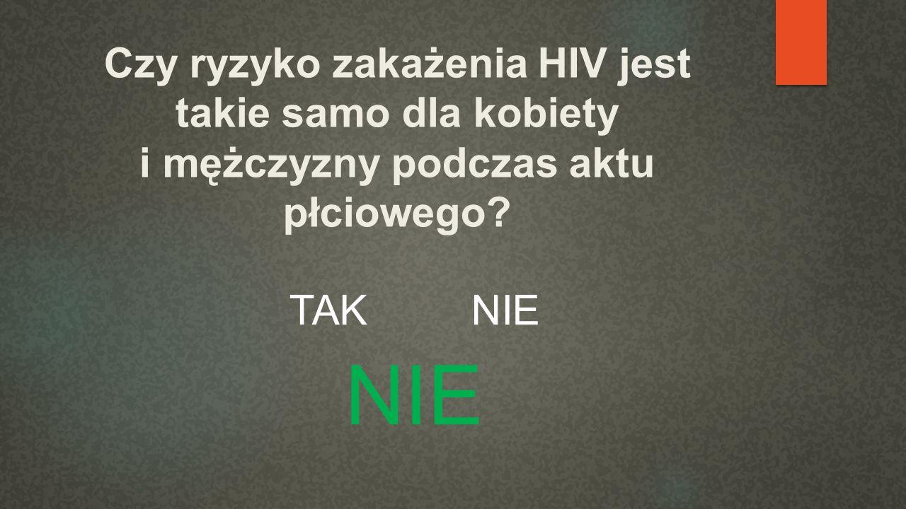 Czy ryzyko zakażenia HIV jest takie samo dla kobiety i mężczyzny podczas aktu płciowego