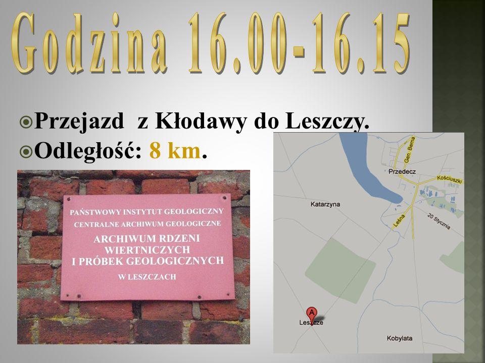 Godzina 16.00-16.15 Przejazd z Kłodawy do Leszczy. Odległość: 8 km.