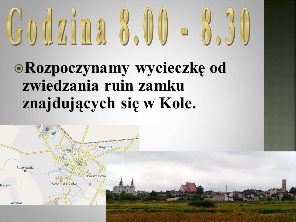 Godzina 8.00 - 8.30 Rozpoczynamy wycieczkę od zwiedzania ruin zamku znajdujących się w Kole.