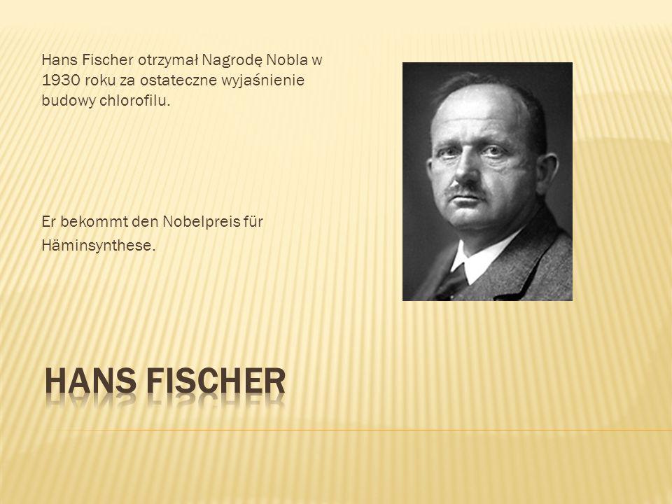 Hans Fischer otrzymał Nagrodę Nobla w 1930 roku za ostateczne wyjaśnienie budowy chlorofilu.