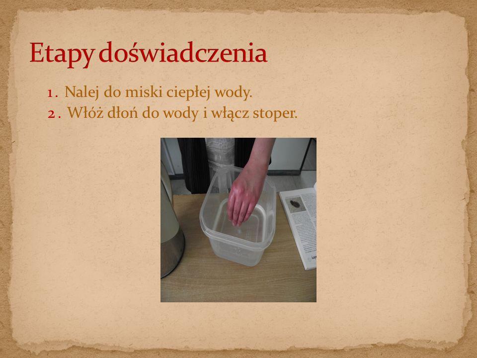 Etapy doświadczenia 1. Nalej do miski ciepłej wody.