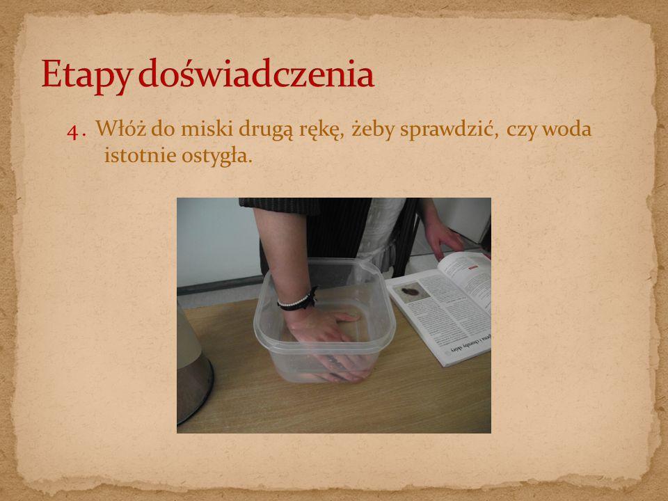 Etapy doświadczenia 4. Włóż do miski drugą rękę, żeby sprawdzić, czy woda istotnie ostygła.