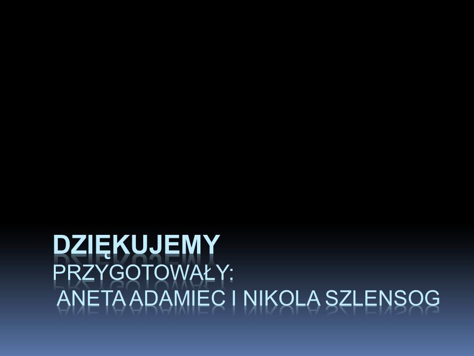 Dziękujemy Przygotowały: Aneta Adamiec I Nikola Szlensog