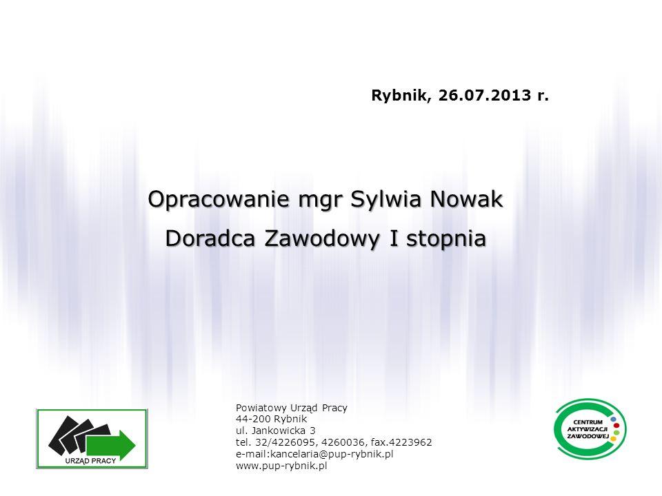 Opracowanie mgr Sylwia Nowak Doradca Zawodowy I stopnia