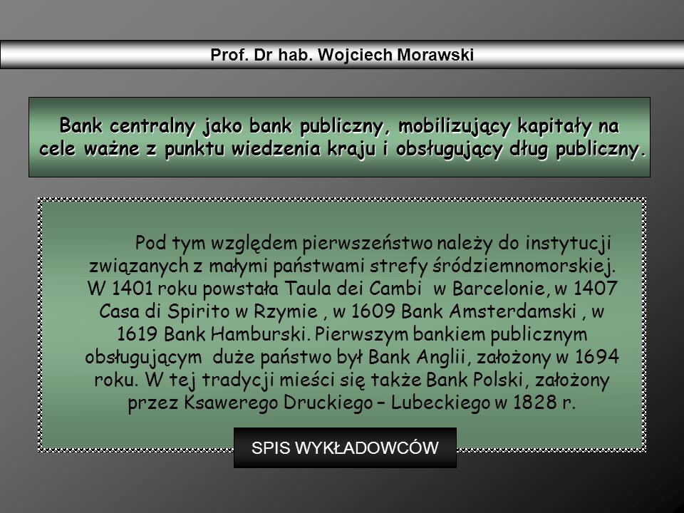 Bank centralny jako bank publiczny, mobilizujący kapitały na