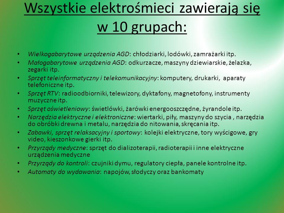 Wszystkie elektrośmieci zawierają się w 10 grupach: