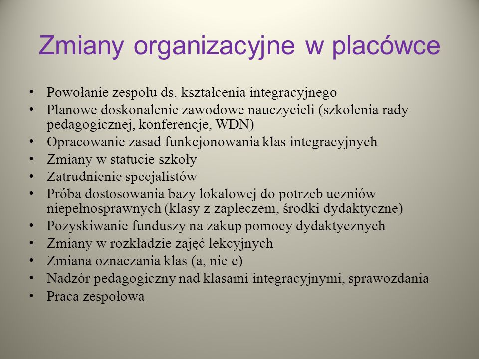 Zmiany organizacyjne w placówce