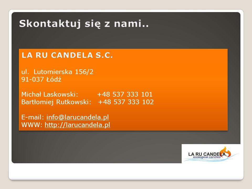Skontaktuj się z nami.. LA RU CANDELA S.C. ul. Lutomierska 156/2