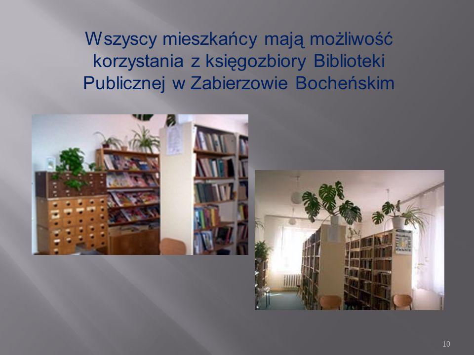 Wszyscy mieszkańcy mają możliwość korzystania z księgozbiory Biblioteki Publicznej w Zabierzowie Bocheńskim